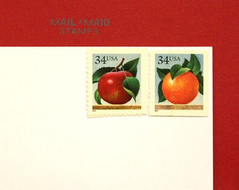 Apples & Oranges || Set of 6 unused vintage postage stamps