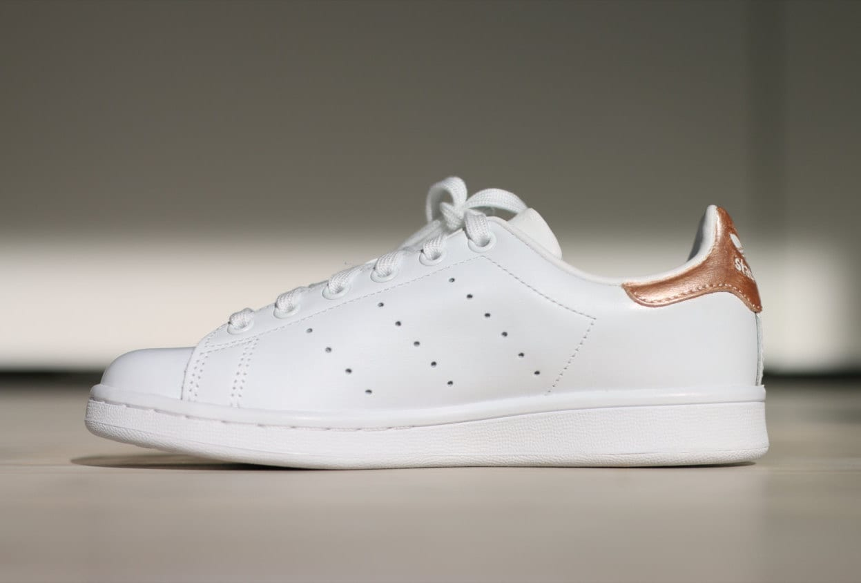 rose gold adidas stan smith by wanderway on etsy. Black Bedroom Furniture Sets. Home Design Ideas