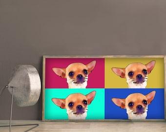 Chihuahua Portrait, Custom dog portrait, Chihuahua Custom portrait, Chihuahua art, Chihuahua love, Chiwawa portrait, Pop art Custom portrait