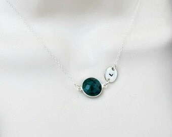 Emerald Necklace, Birthstone Necklace, Initial Necklace, Personalized Womens, Dainty Necklace, Minimal Necklace, May Birthstone, Disc
