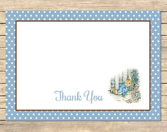 Peter Rabbit Thank You Card, Beatrix Potter Thank You Card, Flat Postcard Style Thank You, Blue, Printable DIY Instant Download Card, 014-A