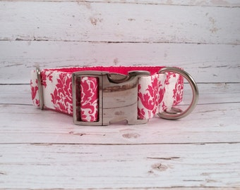MADE TO ORDER- Giltter Pink Damask Dog Collar, Choose width- Buckle or Martingale- add Embroidery and/or Leash