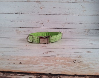 MADE TO ORDER- Spring Green Dog Collar, Choose width- Buckle or Martingale- add Embroidery and/or Leash