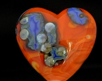 Heart-Lampwork Focal-Hot Orange with Blues Mosaic shard