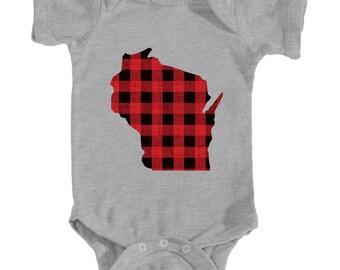 Wisconsin Onesie | Wisconsin Baby Gift | Wisconsin Body Suit | Plaid Wisconsin Onesie | Paul Bunyan