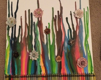 Melted crayon floral art