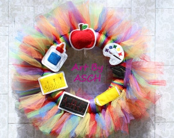 Back To School Graduation tulle wreath, home decor, tutu wreath, school wreath, teacher sign, school decor, teacher gifts, school sign