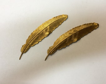 Brass Stamping - Large Feather - Set of 2
