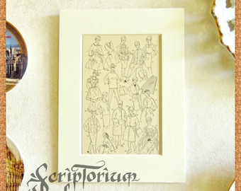 Old page wall art, framed vintage antique decor, female fashion poster, retro decoration, gift for her, vintage fashion, Easter gift