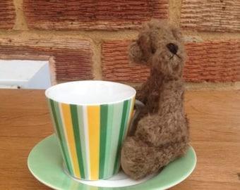 Handmade Artist Miniature Teddy Bear Mocha by Fran's Bears 5 inches (13cm) OOAK