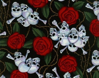 Roses and Skulls COTTON Fabric.