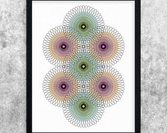 Geometric Printable Art, Teal, Green, Pink, Orange, Abstract Art Print, Minimalist Art, Circle Art, Contemporary Wall Art, Modern Decor