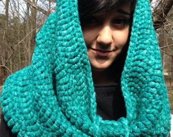 Large Turquoise Hooded cowl