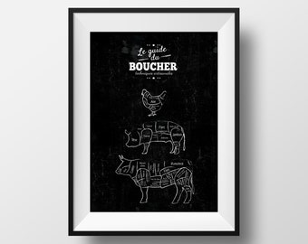 Butcher Guide poster - Affiche guide du boucher - Découpe de viande - boeuf, cochon, poulet - Cut pieces of meat - beef, pork, pig, chicken