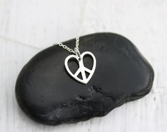 Peace Necklace - Sterling Silver Heart Shaped Peace Sign Necklace - Peace and Love Necklace  Peace Sign Jewelry Love Necklace  Peace Pendant