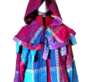 Multicoloured soft cotton robe with hood - 2 piece set