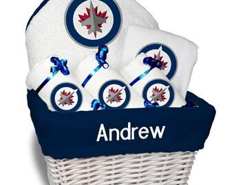 Winnipeg jets baby etsy personalized winnipeg jets baby gift basket bib 3 burp cloths towel set negle Images