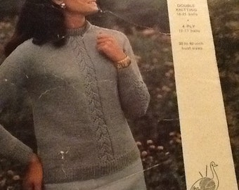 Vintage knitting pattern Emu 2733 for a ladies round neck sweater in double knitting or 4 ply wool.  30 - 40 inch bust