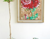 """Pixel Art Red Rose Hand Painted Cork Board - 17.5"""" x 21.5"""""""