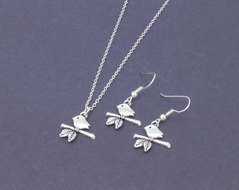 Cute Little Antique Silver Bird on a Branch Pendant and Earrings Set Necklace Jewelry Small Nature