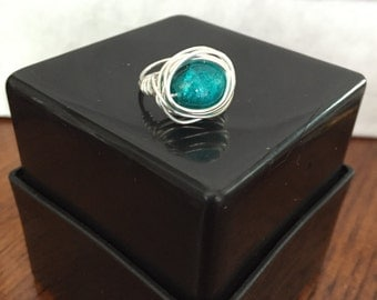 FREE SHIPPING! Teal Ring Wire Wrapped - Size 5.5
