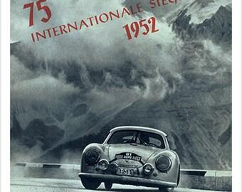 Vintage 1952 Porsche Racing Vintage Sports Poster B/W Speed Style 24x36