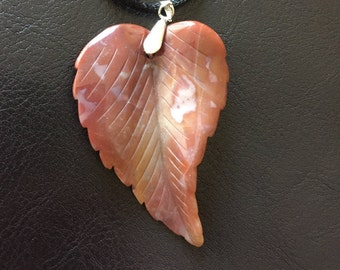Carved Agate Leaf Pendant Necklace with Adjustable 18- 20 inch Satin Cord, Free Shipping