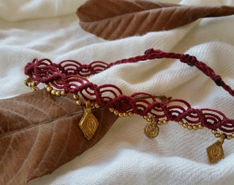 macrame anklet, bordeaux anklet, boho anklet, micro macrame, macrame handmade, tribal anklet, gypsy narkismacrame brass beads hippie jewelry