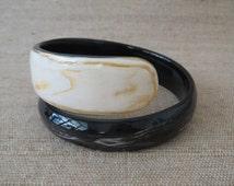 "Black and White Bracelet, Snake Bracelet, Horn Bracelet, Wrap Bracelet, Unique Bracelet, Handcrafted Jewelry, Artisan Jewelry, 2.5"" diameter"