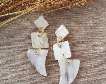 "White Dangle Earrings, Long Dangle Earrings, White Earrings, Long Earrings, Bohemian Earrings, Statement Earrings, 2.75"" length"