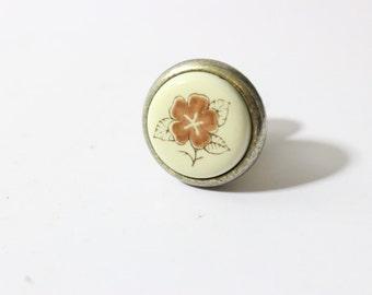 Porcelain Drawer Puller with Spring Flower or Coat Hook Supply / Japan