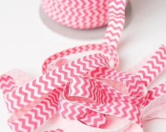 Hot Pink chevron Elastic, hot pink FOE elastic, elastic by the yard, printed elastic, fold over elastic foldover elastic, wholesale elastic