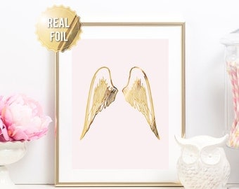 Angel Wings Wall Decor - Angel Wings Decor Wall Art - Gold Foil Print - Gold Angel Wings for Baby - Nursery Decor Angel Wings - Real Foil