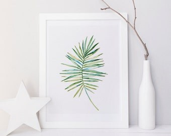 Leaf wall art, Botanical art, Palm leaf wall art, Minimalist wall art, printable wall art, home wall decor, Nature print, tropical art print