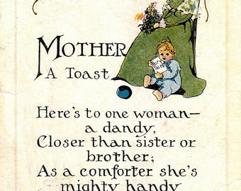 A TOAST to MOTHER ~ Baby ~ Mother ~ Poem ~ 1915 ~ Oklahoma