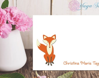 Personalized Fox Stationery / Custom Stationery / Fox Stationery Set / Custom Fox Stationery / Set of 12