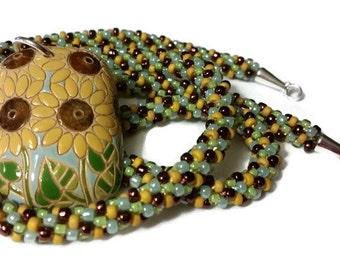 Sunflower Pendant On A Kumihimo Necklace (v2)
