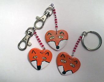 Heart Keyring - Fox- Handmade