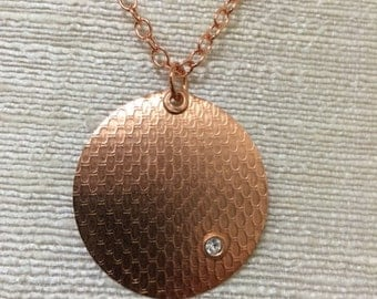 Copper, Hammered, Disc with Swarovski Crystal Necklace