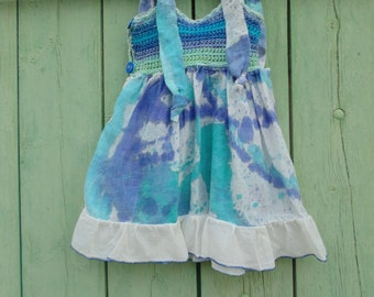 Dress cotton and crochet for baby girl 9 months