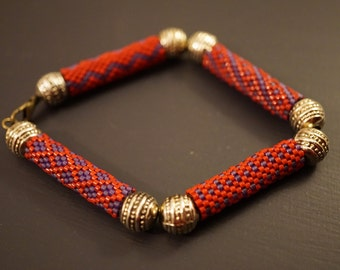 Beaded Bracelet, Bangle style with clasp