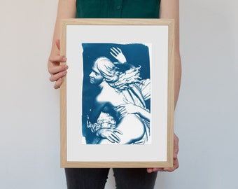 Cyanotype Print, Bernini Rape of Prosepina Sculpture on Watercolor Paper, A4 size