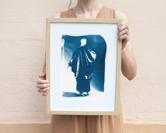 50's Night Gown Dress From Balenciaga, Fashion Cyanotype Print on Watercolor Paper, A4 size