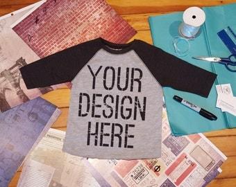 Custom Printed Kids Raglan Baseball Tee Shirt.  Your design on a shirt!