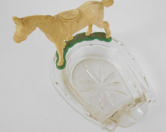 Vintage Horseshoe Horse Ashtray