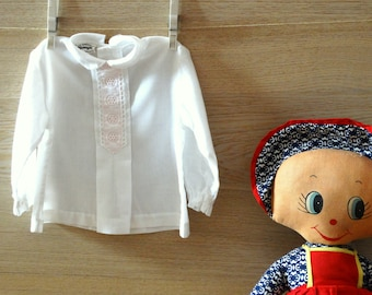 Baby white batiste shirt baptism outfit 12m baby embroidered shirt baby Christening outfit girl vintage 1970s size 12 months 1 year