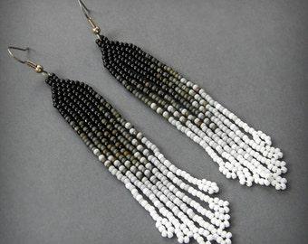 Seed bead earrings Ombre earrings Long dangle earrings Long beaded earrings Long black earrings Ethnic boho earrings Bead fringe earrings