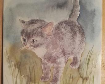 Watercolor cat postcard