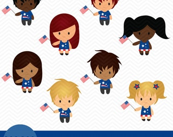 16 PATRIOTIC KIDS Clipart - fourth of july, july 4th, american pride, red white and blue, graphics
