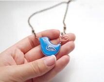 Blue bird necklace, polymer clay birds jewelry, resin jewelry, kawaii bird pendant